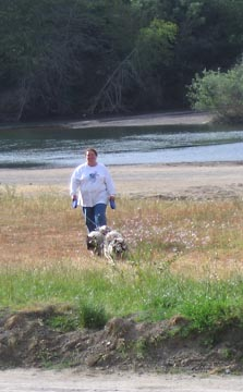 Jeannine coming back from walking her dogs